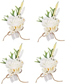 HiiARug Wrist Corsage, Artificial Wrist Flower Calla Lily Bride Bridesmaid Wedding Hand Flower Decor for Prom Party Wedding (C Corsage Lily 4PCS)