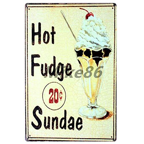 Yycsqy Metalen borden in vintage-stijl voor honden, frituren, pizza, appeltje, ijs, posters, schilderijen, decoratie 30*20cm Aa-300