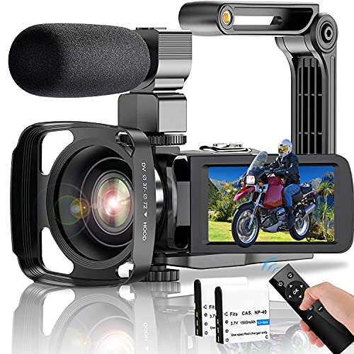 Video Camera Camcorder, UHD 4K 60FPS 48MP Vlogging Camera for YouTube Digital Zoom IRNightVision Wi-Fi Camcorder with Microphone 2.4G Remote 3 in Touch Screen Handheld Stabilizer