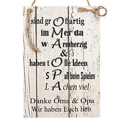 Wand Deko Holzschild mit Spruch im Shabby Chic Vintage Stil (20x29x0,5cm) Oma/Opa Wir haben Euch lieb - die Geschenkidee für ihre Großeltern