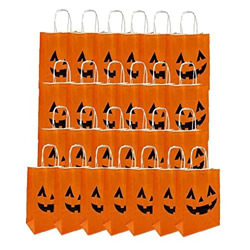 Sraeriot Bolsa de Truco de Halloween, Bolso de Regalo de Papel de Halloween de 25pcs con Mango para niños Suministros de Fiesta de Halloween, Orange