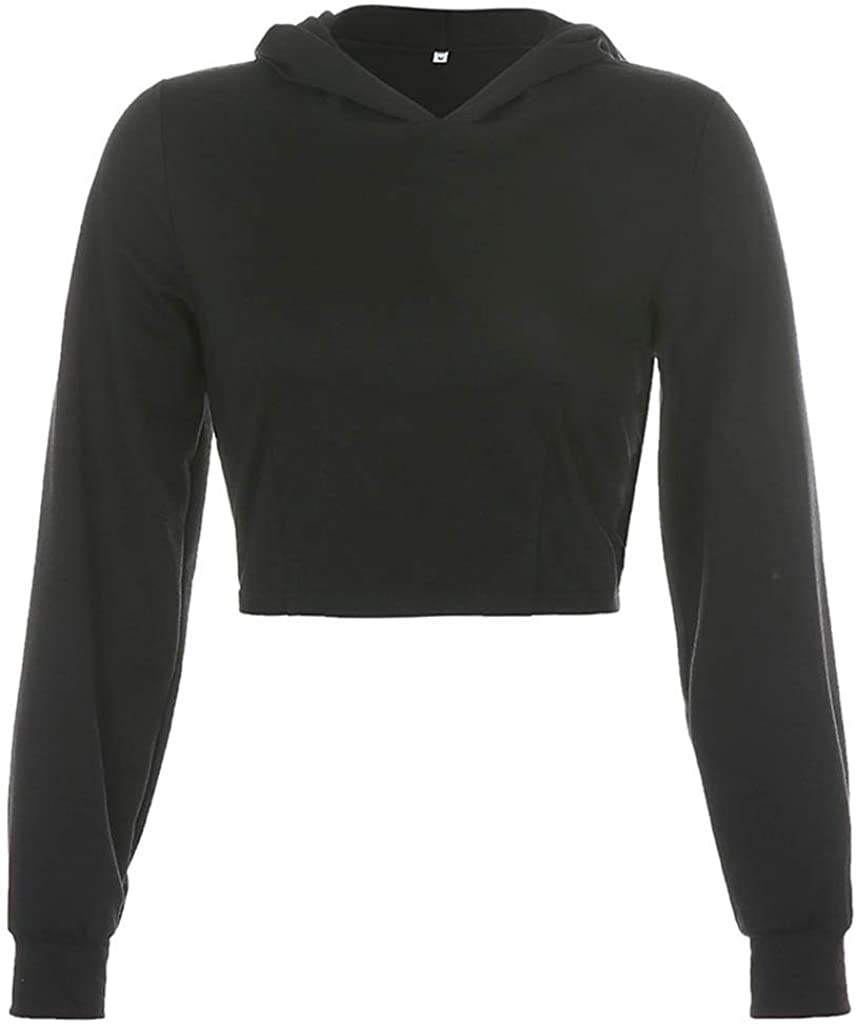 Hubl Womens Fashion Sexy Hollow Cropped Hooded Short Sweatershirt Top with Back Straps Tops