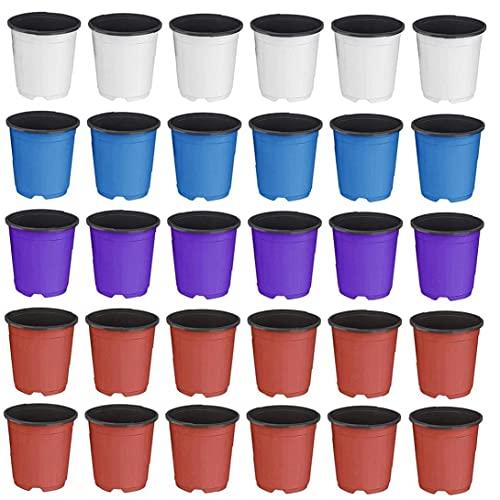 Runfon Planta Nursery Pots Plástico Gran semilla de Inicio Contenedor Doble Color Flower Planter 30pcs