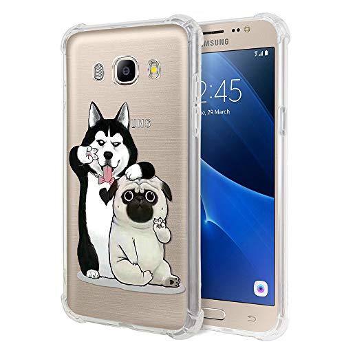 Zhuofan Plus Cover Samsung Galaxy J5 2016, Custodia Clear Silicone Soft Transparent Tpu Gel con Design Airbag Print Pattern Antigraffio Antiurto Protactive Cover per Samsung Galaxy J5 2016, 2 Cane