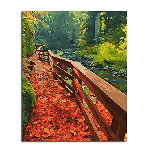 hand-painted oil painting for Adults Children Painting by number kits Deciduous wooden bridge canvas painting kids room decor Paint Artwork 40X50cm/unframed