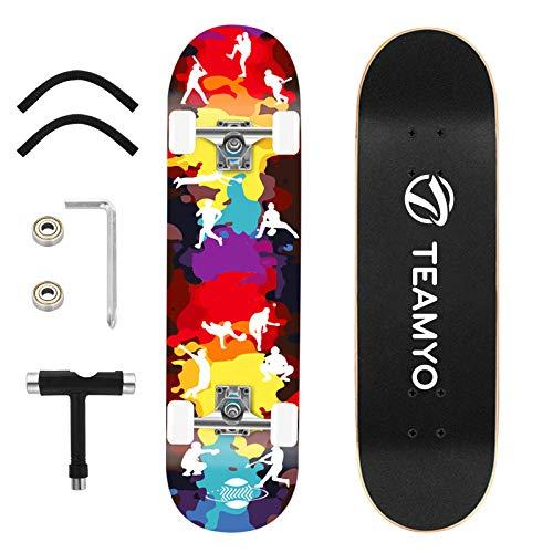 Skateboard Komplettboard, 80 x 20 cm Holzboardmit ABEC-11 Kugellager 9-lagigem Ahornholz für Anfänger Kinder Jungendliche und Erwachsene, Belastung 150 kg