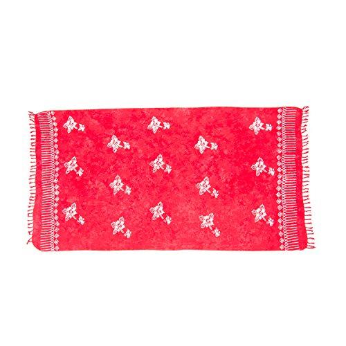 ManuMar Damen Sarong   Pareo Strandtuch   Leichtes Wickeltuch   Batik Design (L: 115 x 225 cm, Rot Hibiscus)