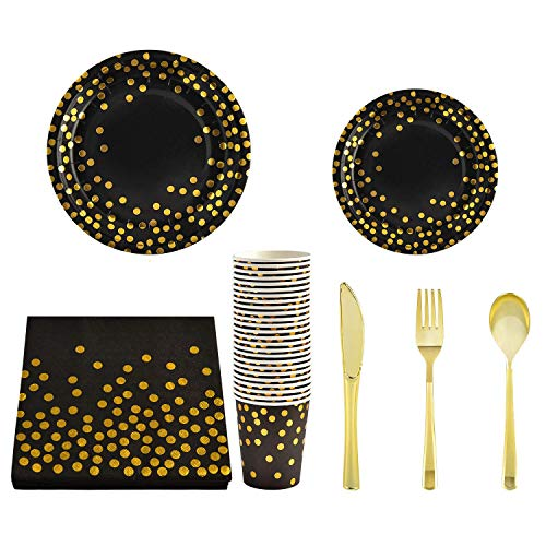350 PCS Black Gold Party Supplies Paper Plates, Eco-Friendly, Biodegradable and Compostable Perfect for Picnics, BBQs,and Parties Super Rigid Bagasse