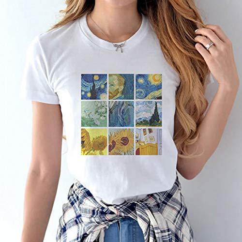 LIULINUIJ Van Gogh Arte Pintura Al Óleo Noche Estrellada EstéticaCamisetas Gráficas Mujeres Verano Camiseta De Manga Corta Mujer