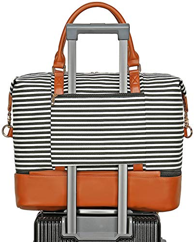 BLUBOON Weekender Overnight Bag with Shoe Compartment Canvas Travel Duffle Bag in Trolley Handle Carry On Tote Bags for Women Ladies (Brown -Black Stripe)