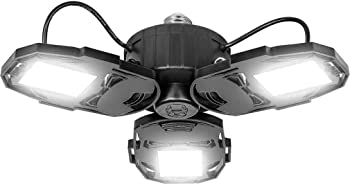 ACI 80W LED Deformable Garage Light with 3 Adjustable Wings