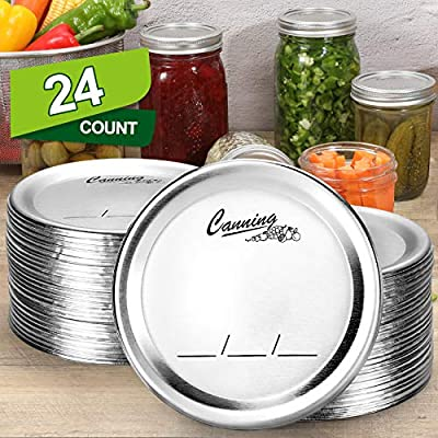 24-Count, [WIDE Mouth] Canning Lids for Ball, Kerr Jars - Split-Type Metal Mason Jar Lids for Canning - Food Grade Material, 100% Fit & Airtight for Wide Mouth Jars - PATENT PENDING