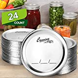 AOZITA 24-Count, [WIDE Mouth] Canning Lids for Ball, Kerr Jars - Split-Type Metal Mason Jar Lids for Canning - Food Grade Material, 100% Fit & Airtight for Wide Mouth Jars - PATENT PENDING
