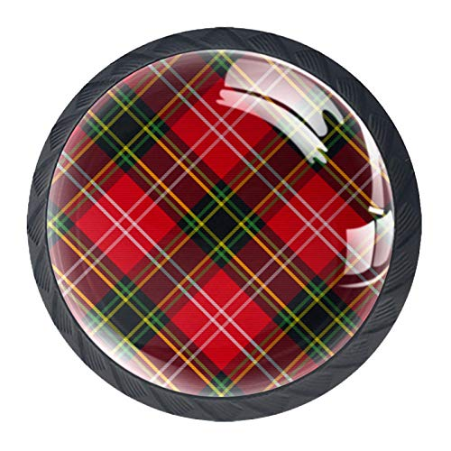 OLEEKA Tirador de manijas de cajón Perillas Decorativas del gabinete del cajón Manija del cajón del tocador 4 Piezas,Tela Escocesa de tartán