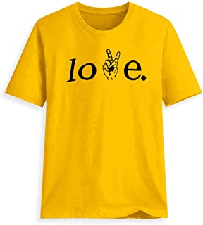 XUJIN Love Finger Pattern Victory Girl 3D Print Short Sleeve T-Shirt Women's Casual Letter Top