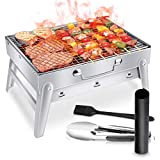 WOSTOO Barbecue Charcoal Grill, Foldable BBQ Grill, Lightweight Camping Stove & Fire Pit For Campers & Travelers Perfect For Home Garden Picnics, Beach, Camping & Outdoor Cooking  Silver