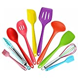 10Pc Heat Resistant Silicone Cookware Set Nonstick Cooking Tools Kitchen & Baking Tool Kit UtensilsMulticolor