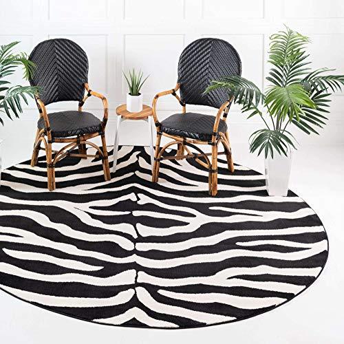 Unique Loom Wildlife Collection Zebra Animal Print Black Round Rug (8' 0 x 8' 0)