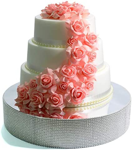 Cakebon Wedding Cake Stand Silver 13 5 inches Round Gorgeous Cake Display Centrepiece for Wedding product image