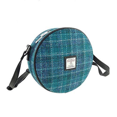 Damen Authentisch Harris Tweed Rund Tasche mit Schulterriemen Erhältlich in Verschiedenen Farben LB1204 - Farbe 92, 20cm Diameter x 7cm D.