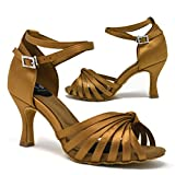 YAMI Womens Latin Dance Shoes for Ballroom, Tango, Salsa, Bachata, Practice, Performance, Social Dancing - 7.5cm / 2.9in Flared Heel, Tan Satin, Size 7.5