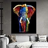 wZUN Póster de Elefante de Animal Salvaje Impreso en Lienzo Pintura Mural...