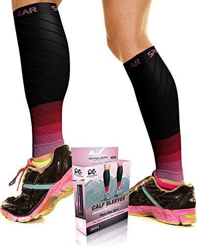 Physix Gear Wadenbandage für schwere Beine Waden Kompressionsstrümpfe Damen & Herren Waden Kompression für schnellere Regeneration Wadenschoner Kompressionsstulpen mit Wadenkompression SCHW/PNK L/XL
