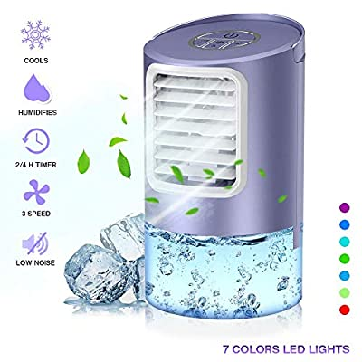 Nobebird Personal Air Cooler, 3 in 1 Portable Air Conditioner, Mobile Desk Cooling Fan and Humidifier, Small Space Evaporative Cooler with 7 Colors Lights, Timer, 3 Speeds for Home Office