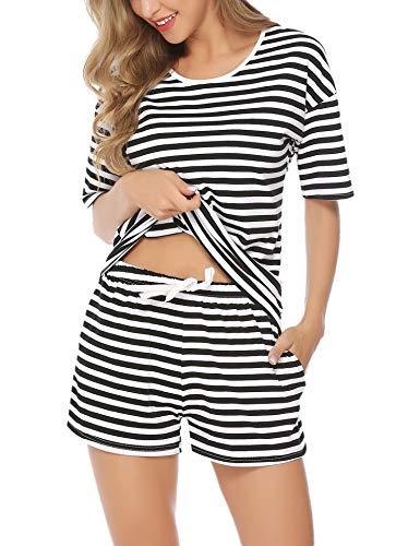Aibrou Pijamas para Mujer de Manga Cortos Conjunto de Pijama Vearno Corto de Algodon Ropa de domir Dos Piezes