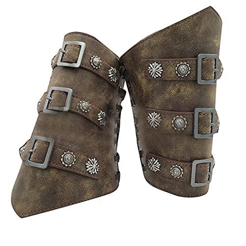 keepwo Brazales de Cuero Protectores Medievales Retro brazales Vikingo Cosplay guantelete Pulsera Tiro con Arco Hebilla cinturón Brazalete