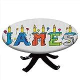 Mantel redondo con bordes elásticos, letras alegres de un popular nombre masculino, diseño de James para mesas de hasta 91 cm de diámetro, multicolor