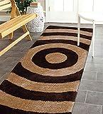 The Home Talk Modern Design Microfibre Polyester Shaggy Bedside Rug, Soft Carpet for Bedroom Living Room (50x150 cm, Beige Brown)
