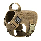 ICEFANG Tactical Dog Harness with 2X Metal Buckle,Working Dog MOLLE Vest with Handle,No Pulling Front Leash Clip,Hook and Loop for Dog Patch (S (22'-27' Girth), Coyote Brown)