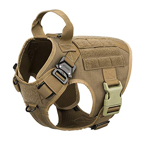 ICEFANG Tactical Dog Harness with 2X Metal Buckle,Working Dog MOLLE Vest with Handle,No Pulling Front Leash Clip,Hook and Loop for Dog Patch (S (22