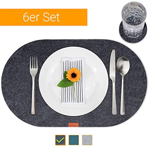 mokinu Design Filz Tischset inkl. Glas-Untersetzer - 6er Set Premium Platzset Oval – abwaschbare Platzdeckchen für 6 Personen, Tischuntersetzer Anthrazit