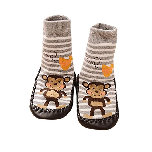 AMA(TM) Cartoon Kids Toddler Baby Anti-slip Sock Boots Slipper Shoes (18-24 months, Gray)