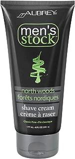 Aubrey Men's Stock North Woods Shave Cream   Invigorating Formula For A Smooth, Close Shave   Avocado & Wheat Germ Oils   Classic Pine Scent   6oz