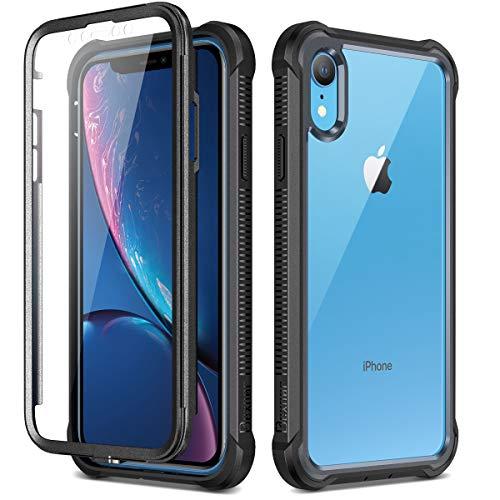 Dexnor Cover Compatibile con Iphone XR (6.1'') Cassa, Custodia di Protezione a 360 Gradi, [Antiurto] [Leggero] Pannello Posteriore Trasparente, con Protezione per lo Schermo - Nero