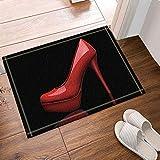 ZZ7379SL Zapatos de tacón Alto Rojos Decorativos de Mujer Creativa en Alfombra de baño Negra Accesorios de baño Alfombrillas de baño salón Dormitorio Cocina felpudos
