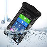 Black Waterproof Case Pouch Dry Bag for Nokia XL / Nokia Lumia 929 / Lumia 630 / Nokia 930 / Lumia 1020 / 928 + Vangoddy Blue Headphone with MIC