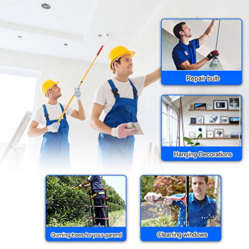 New 9+11 Aluminum Telescoping Ladder Extension Ladder Folding Ladder A-Frame with Spring Loaded Locking Mechanism for Roof Household Daily Cleaning Windows (9+11 stepers) …