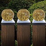 Tapa Para Postes De Valla, Luz Solar Exterior Remates para Barandillas Esférico Luz LED Impermeable para Jardín Valla Patio Postes de Madera,15x15cm