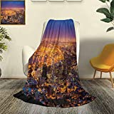 LCGGDB City Modern and Stylish All Season Bedspread futon Cape Town Panorama at Dawn South Africa Coastline Roads Architecture Twilight Durable Travel Sofa Bed Sofa W80 x L60 Inch Marigold Blue Pink