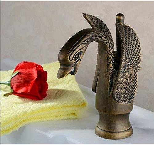 Faucet Latón antiguo Estilo de ave migratoria Grifo monomando para baño Contenedor grifo