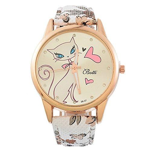 Souarts Damen Lila Retro Stil Kätzchen Armbanduhr mit Strass Quartzuhr Analog mit Batterie (Weiß)
