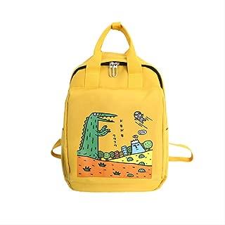 Backpack Cartoon Dinosaur Student Bag, Waterproof Nylon Multi-Function Shoulder Bag, Outdoor Travel Wear-Resistant Computer Bag 28 x 13 x 36cm Pink (Color : Yellow, Size : 28 x 13 x 36cm)