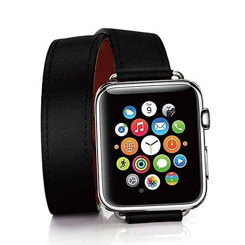 TEXSCOPE Compatibel met Apple Watch Band, Echt Lederen Dubbele Tour Apple Horlogebandjes 38mm/42mm voor Mannen Vrouwen iwatch series3 series2 Serie 1 (42mm, Zwart)