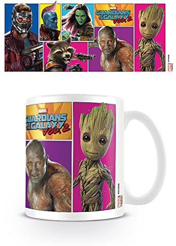 Marvel Comics Guardians of The Galaxy Vol. 2 Comic Panels Ceramic Mug Kaffeetassen, Keramik, Mehrfarbig, 2 Stück (1er Pack)