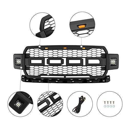 Including XL Platinum and Limited,/Front Grille for Ford with Side LED Lights Matte Black King Ranch XLT LARIAT SEVENS Raptor Style Grill for F150 2018 2019 2020