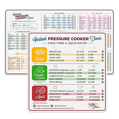 Willa Flare Electric Pressure Cooker Cook Times Quick Reference Guide Compatible with Instant Pot   Instapot Accessories Magnetic Cheat Sheet Magnet Set   Insta Pot Sticker and Decal Alternative